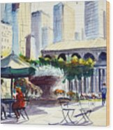 Morning, Bryant Park  Wood Print