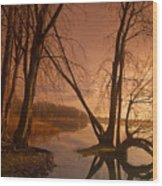 Morning By The Lake Wood Print