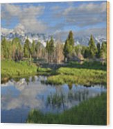 Morning Clouds Over Tetons Wood Print