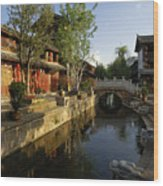 Morning Comes to Lijiang Ancient Town Wood Print