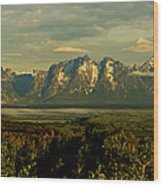 Morning Dawns On The Tetons Wood Print