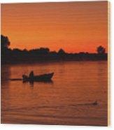 Morning Fishing On The Lake Wood Print
