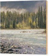 Morning Fog At Athabasca River Wood Print