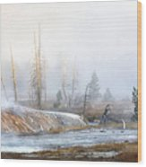 Morning Fog At Black Sand Basin Wood Print