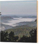 Morning Fog On Pine Mountain Wood Print