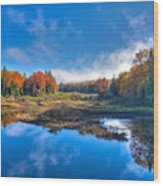 Morning Fog On The Moose River Wood Print