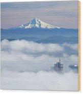 Morning Fog Over Portland Wood Print
