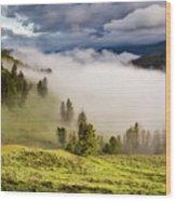 Morning Fog Over Yellowstone Wood Print