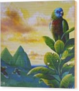 Morning Glory - St. Lucia Parrots Wood Print