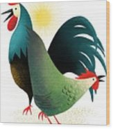 Morning Glory Rooster And Hen Wake Up Call Wood Print