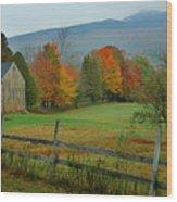 Morning Grove - New England Fall Monadnock Farm Wood Print