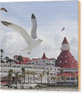 Morning Gulls On Coronado Wood Print