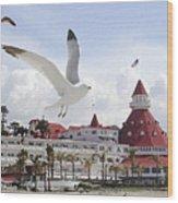 Morning Gulls On Coronado Wood Print