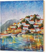 Morning Harbor - Palette Knife Oil Painting On Canvas By Leonid Afremov Wood Print