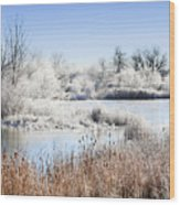 Morning Hoar Frost Wood Print