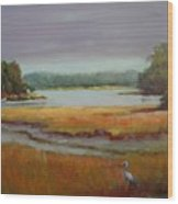 Morning In The Salt Marsh Wood Print