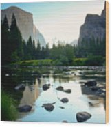 Morning Light On El Capitan Wood Print