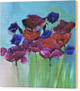 Morning Light Poppies Painting Wood Print