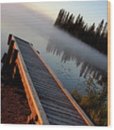Morning Mist Over Lynx Lake In Northern Saskatchewan Wood Print