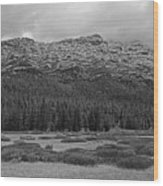 Morning Mountains In Yellowstone Wood Print