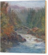Morning Muse - Original Contemporary Impressionist River Painting Wood Print