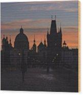 Morning On Charles Bridge Wood Print