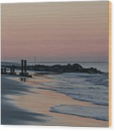 Morning On The Beach At Cape May Wood Print