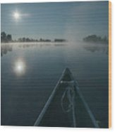 Morning Paddle On The Mississippi Wood Print