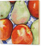 Morning Pears and Apples Wood Print