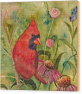 Morning Perch In Red Wood Print