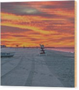 Morning Red Sky At Cape May New Jersey Wood Print