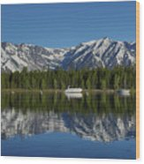 Morning Reflection Boats On Colter Bay Wood Print