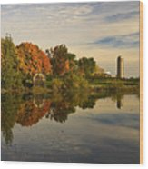 Morning Reflections Of Autumn Colours On A Farm Pond Wood Print