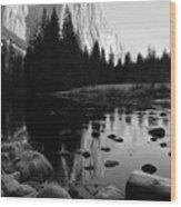 Morning Sunlight On El Cap - Black And White Wood Print