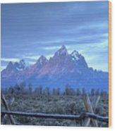 Morning Sunrise In The Tetons Wood Print