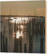 Morning Sunrise Over Bay. Wood Print