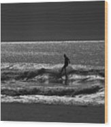 Morning Surfer Wood Print