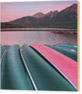 Morning View Of Pyramid Lake In Jasper National Park Wood Print
