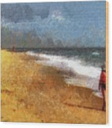 Morning Walk Along The Beach Wood Print