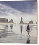 Morning Walk At The Beach Wood Print