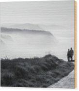 Morning Walk With Sea Mist Wood Print