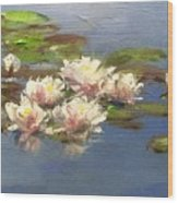 Morning Water Lilies Wood Print