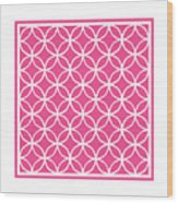 Moroccan Endless Circles I With Border In French Pink Wood Print