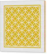 Moroccan Endless Circles I With Border In Mustard Wood Print
