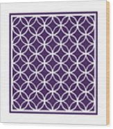 Moroccan Endless Circles I With Border In Purple Wood Print
