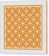 Moroccan Endless Circles I With Border In Tangerine Wood Print