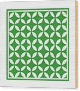 Moroccan Endless Circles II With Border In Dublin Green Wood Print
