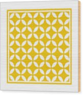 Moroccan Endless Circles II With Border In Mustard Wood Print