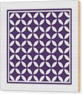 Moroccan Endless Circles II With Border In Purple Wood Print