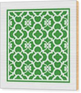 Moroccan Floral Inspired With Border In Dublin Green Wood Print